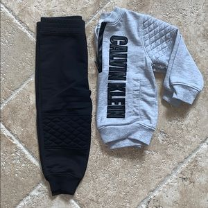Calvin Klein 12m sweatshirt jogger set gray black